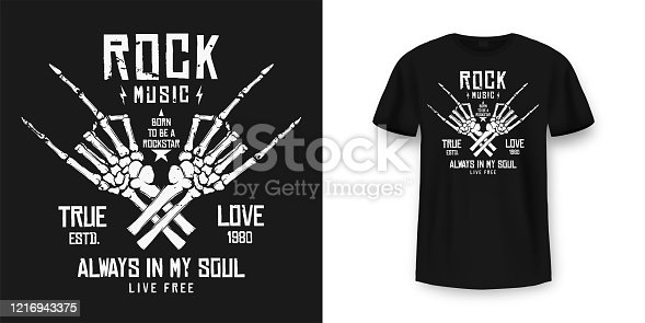 istock Rock music t-shirt graphic design with skeleton. Rock music slogan for t-shirt print and poster. Skeleton hands with grunge texture in vintage and hipster style 1216943375