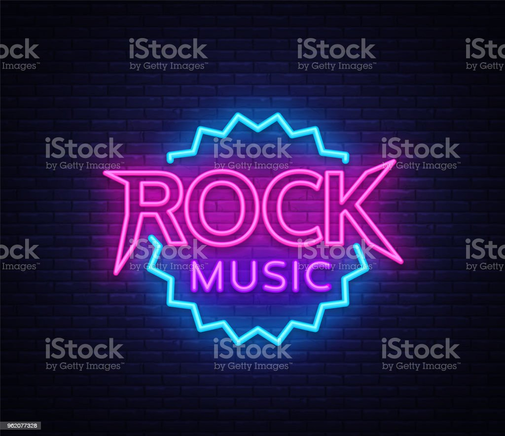 Rock Music Vector Neon Rock Music Neon Sign Bright Night Sign Light