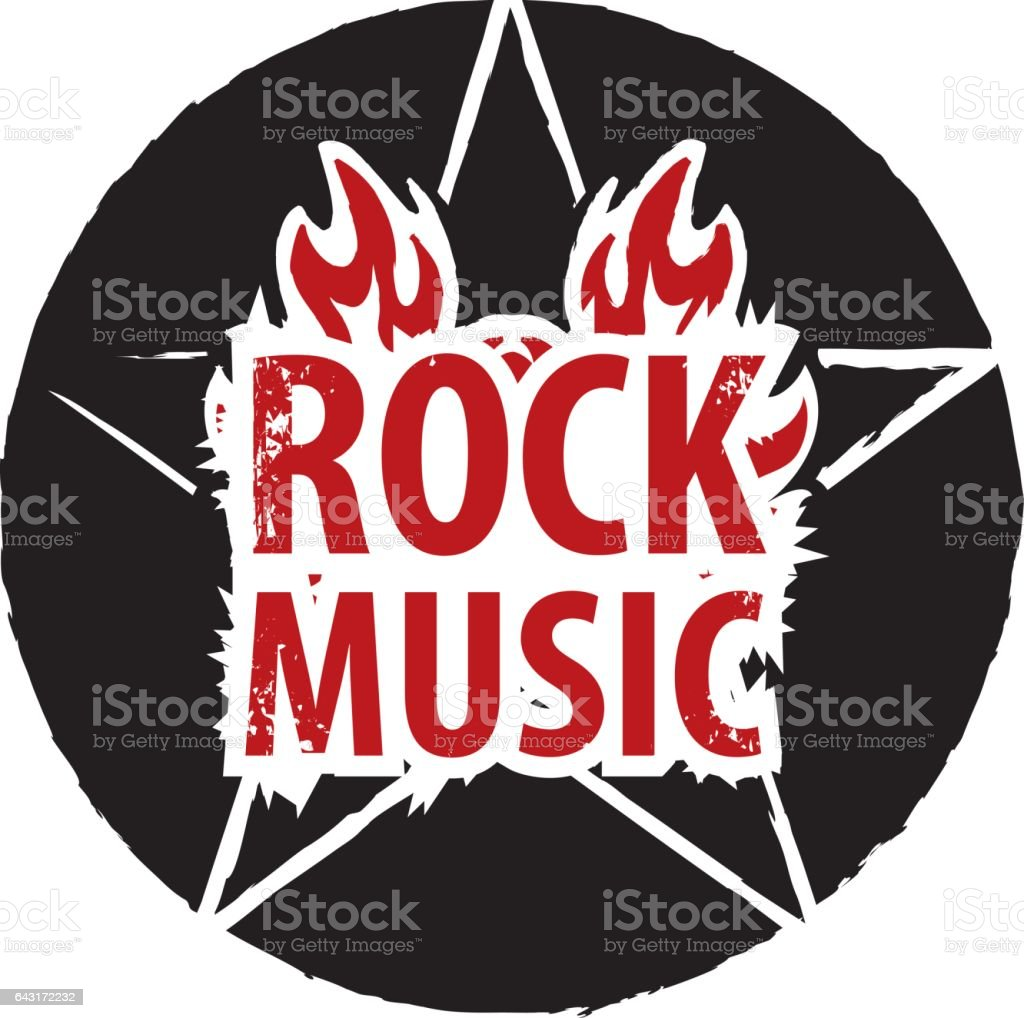 rock music with electric guitar vector art illustration