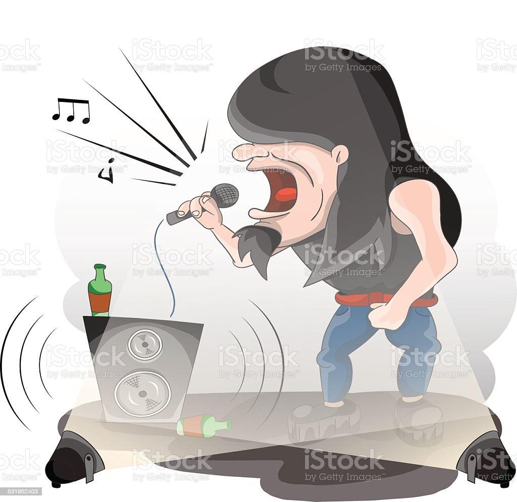 Rock musician vocalist vector art illustration