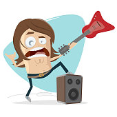 rock musician with electric guitar and speaker