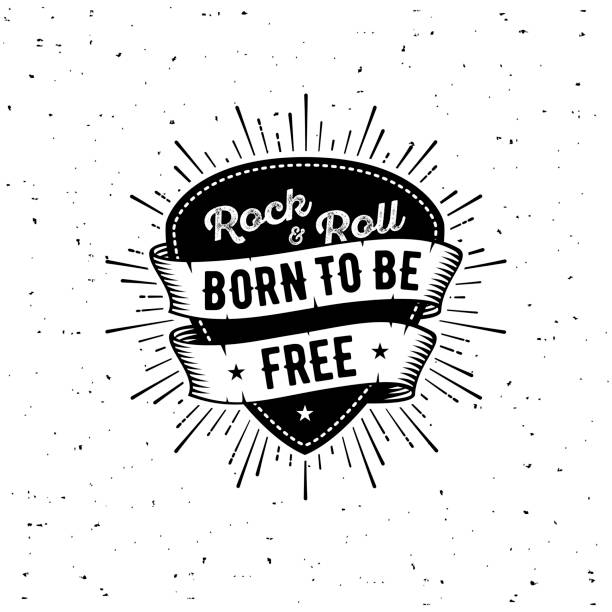 Rock n Roll born free Rock and Roll sign. Born to be free. Slogan graphic for t shirt. Poster with plectrum, ribbon, starburst. rock music stock illustrations