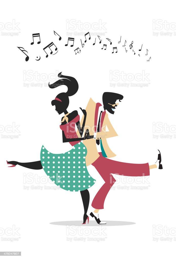 Rock n Roll Silhouette di coppia - illustrazione arte vettoriale