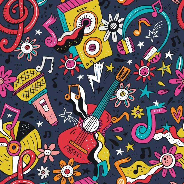 illustrazioni stock, clip art, cartoni animati e icone di tendenza di rock n roll doodle vector seamless pattern - xx° secolo
