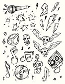 Collection of hand drawn Rock N Roll Doodles.