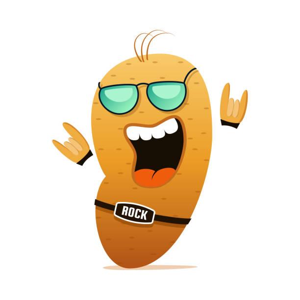 rock ' n roll kartoffeln lustige cartoon-figur. - kartoffeln stock-grafiken, -clipart, -cartoons und -symbole