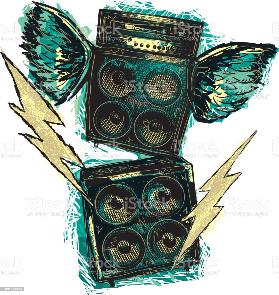 Rock n' roll stacked amplifiers with wings and bolts vector art illustration