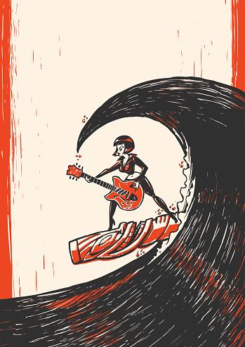 rock n roll surf girl poster