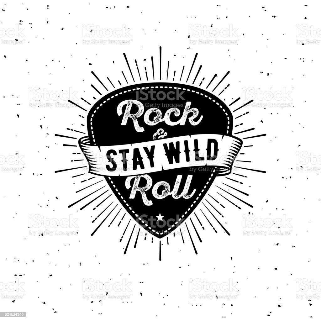 Rock n Roll white vector art illustration