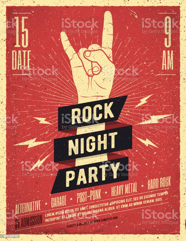 Rock Night Party Poster. Flyer. Vintage Styled Vector Illustration. royalty-free rock night party poster flyer vintage styled vector illustration stock illustration - download image now