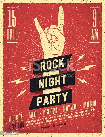 istock Rock Night Party Poster. Flyer. Vintage Styled Vector Illustration. 881134420