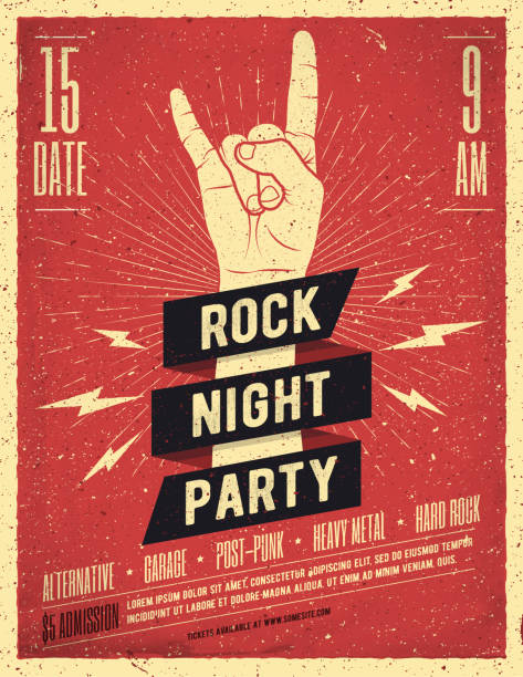 rock night party poster. flyer. vintage styled vector illustration. - poster stock illustrations
