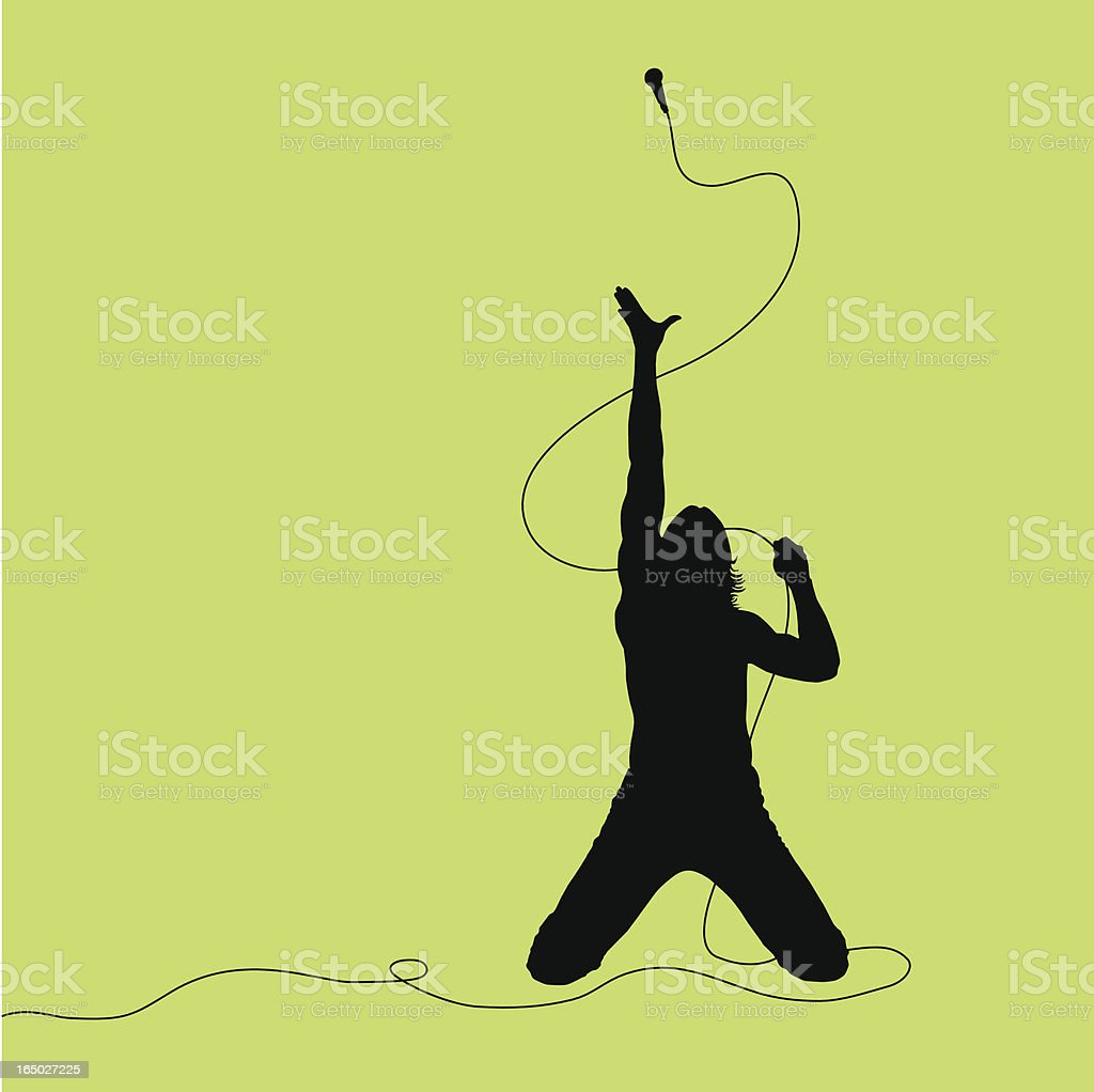 Rock Out! Singer Throwing Mic vector art illustration