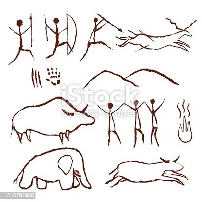 Rock painting cave old art symbol hand drawn vector illustration. Prehistoric animal and traditional primitive people hunting ornament isolated on white background