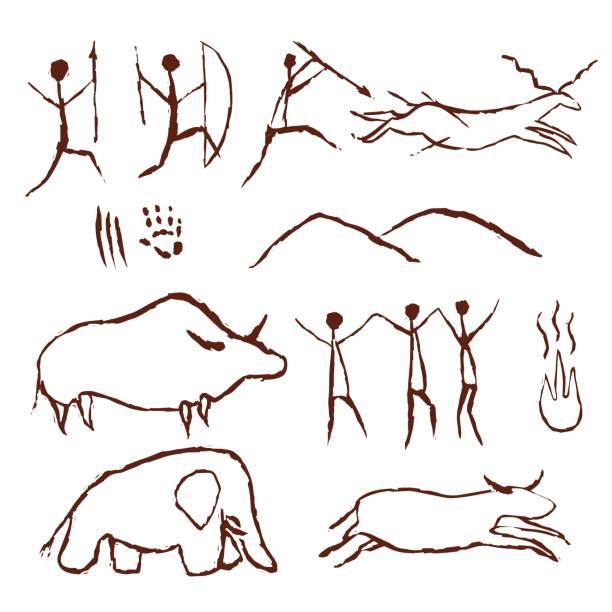 Rock painting cave old art symbol hand drawn vector illustration