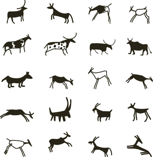 royalty free cave painting clip art vector images