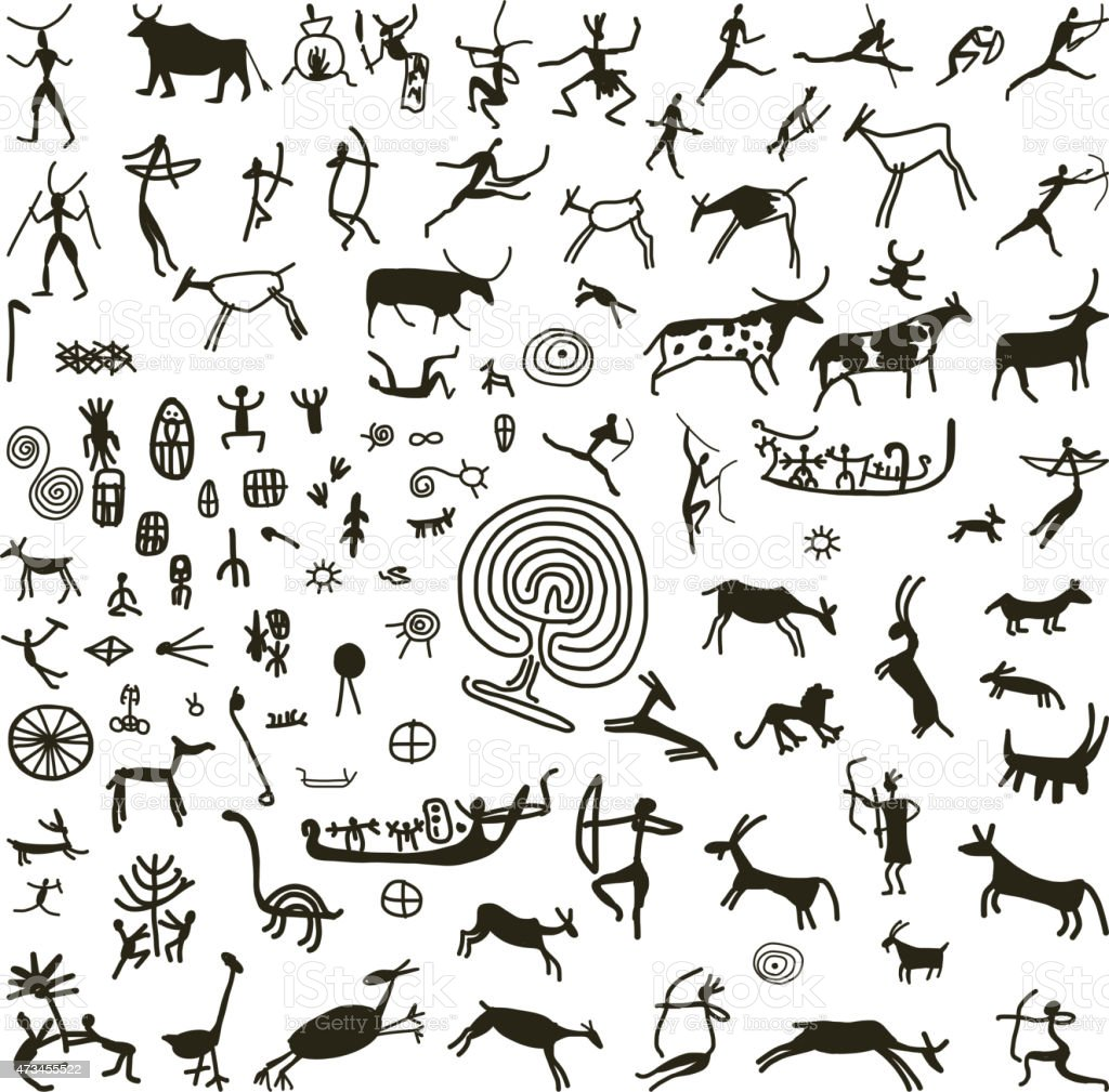 Rock paintings, sketch for your design