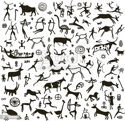 Rock paintings, sketch for your design. Vector illustration