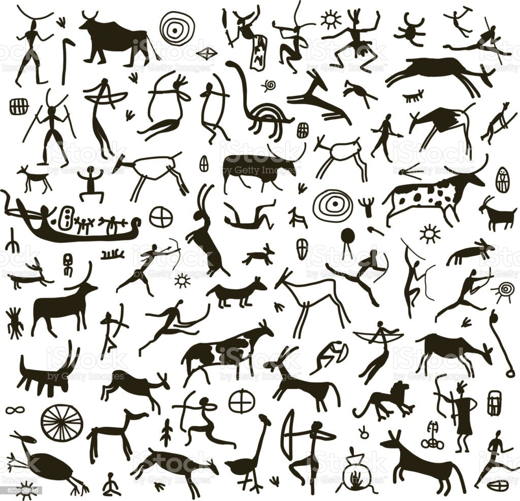 Rock paintings, sketch for your design vector art illustration