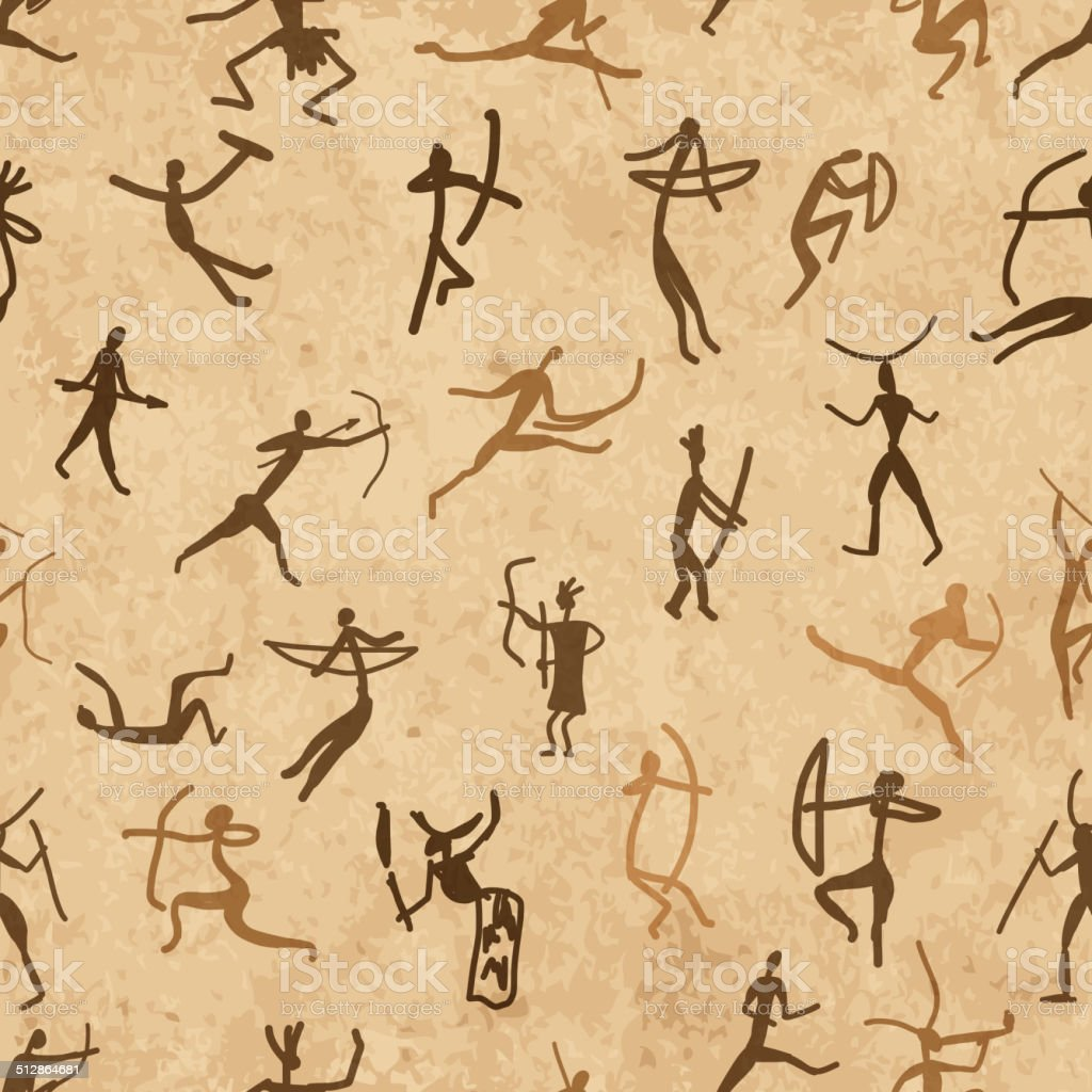Rock paintings with ethnic people, seamless pattern vector art illustration