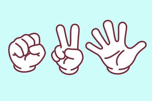 Rock paper scissors hand sign set, vector illustration