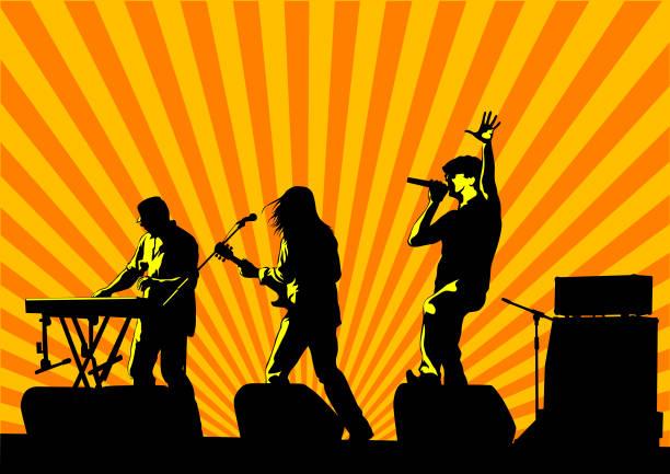 stockillustraties, clipart, cartoons en iconen met rock mensen - zanger
