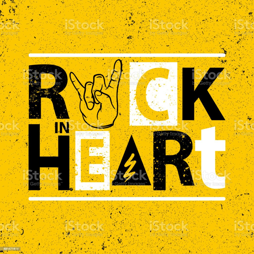 Rock poster. Rock in heart sign.Rock Slogan graphic for t shirt.