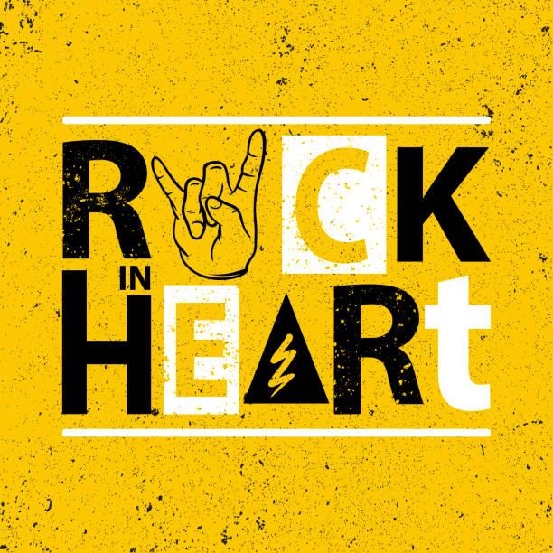 ilustrações, clipart, desenhos animados e ícones de cartaz de rocha. rock em sinal de coração. gráfico de slogan de rocha para t-shirt. - música rock