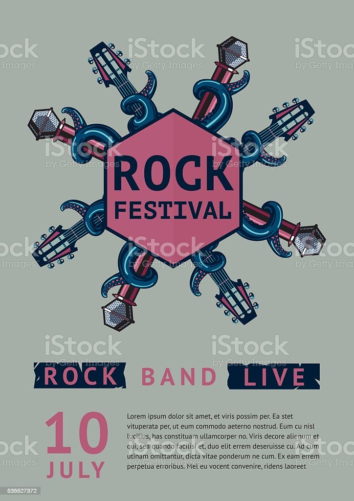 Rock poster template for a festival with octopus. vector art illustration