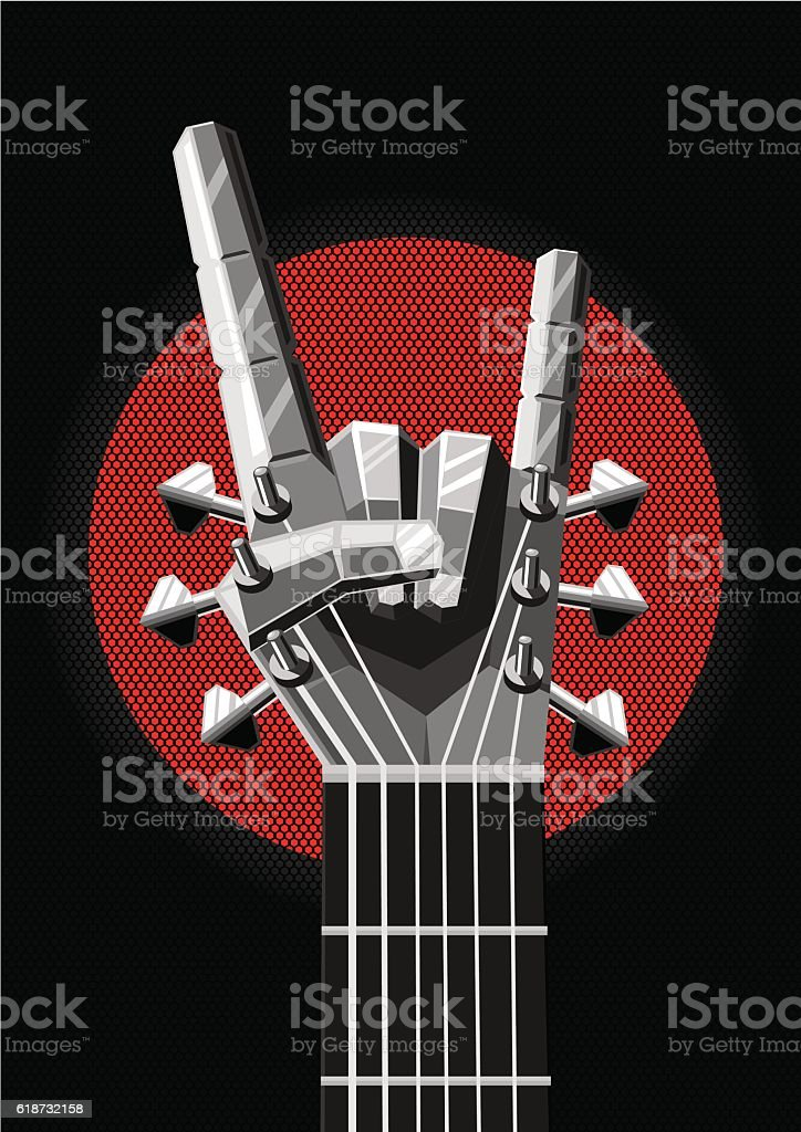 Rock poster with a metal hand and guitar. Music illustration