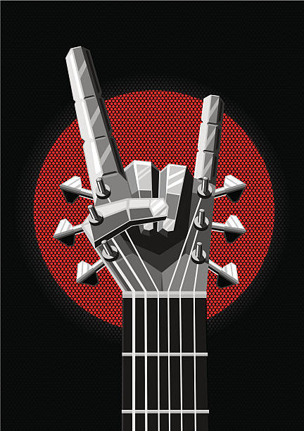 Rock poster with a metal hand and guitar. Music illustration - Illustration vectorielle