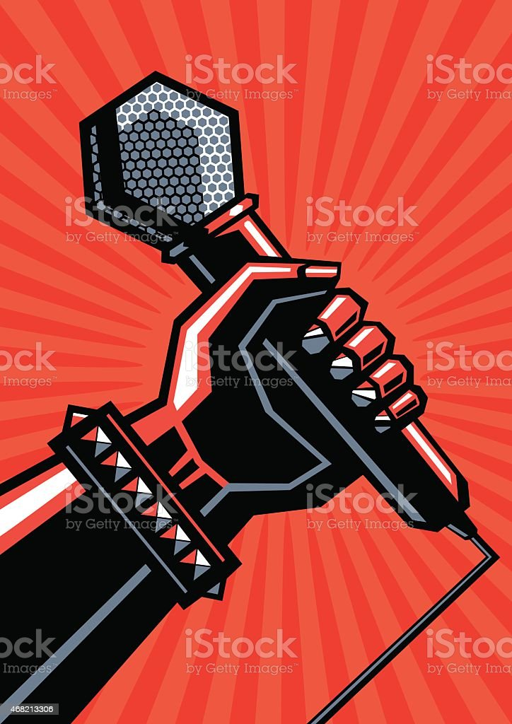 Rock poster with a microphone vector art illustration