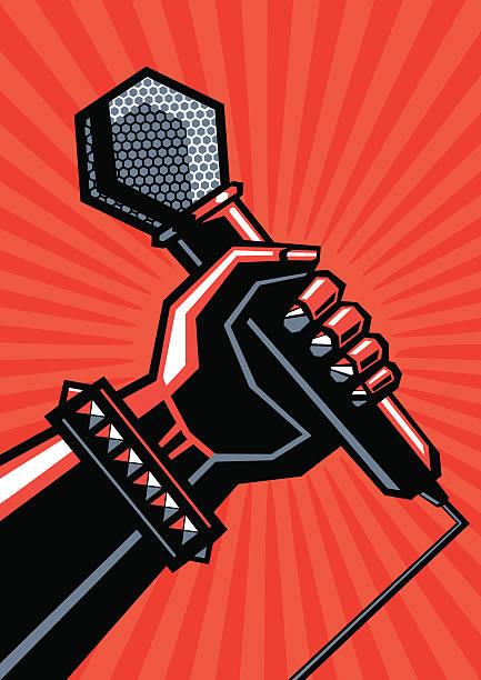 Rock affiche avec un microphone - Illustration vectorielle