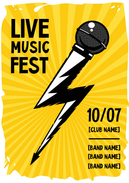 bildbanksillustrationer, clip art samt tecknat material och ikoner med rock affisch med mikrofon och blixtar. grunge musik banner. - hip hop poster