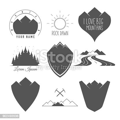 Rock Road - Shield - Forest and Sun - Set of Silhouette Vector Emblems and Badges Alpine Adventure Related in Vintage Black and White Style.