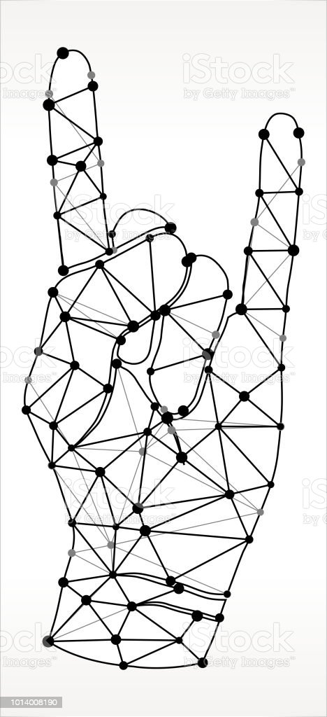 2d13e9f3d Rock & Roll Hand Triangle Node Black and White Pattern royalty-free rock  roll hand