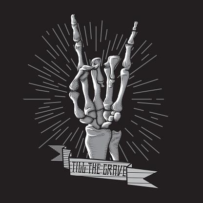 Rock Roll Skeleton Hand Print Music Hard Grunge Hipster Symbol