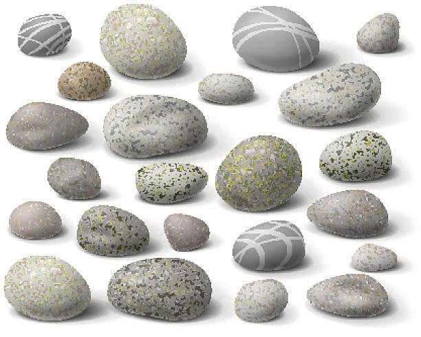 rock set - pebbles stock illustrations, clip art, cartoons, & icons