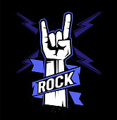 Rock sign gesture with lightning for your design