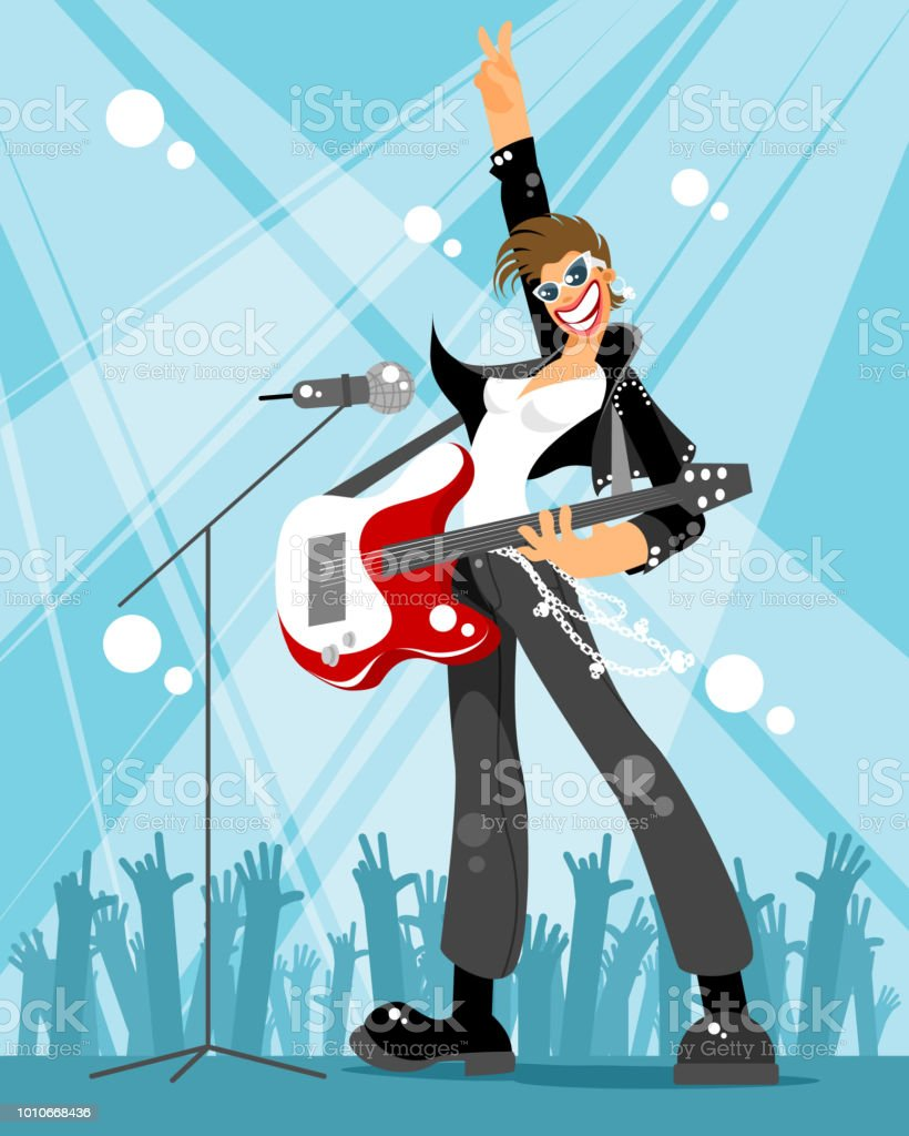 Rock singer at a concert vector art illustration
