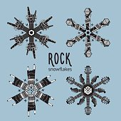 Rock snowflakes set.   Snowflakes constructed from musical equipment. Decoration for Christmas party.