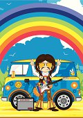 Vector illustration of a cute little Rock Star with Electric Guitar by Camper Van scene.
