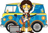 Vector illustration of a cute little Rock Star with Electric Guitar by Camper Van.