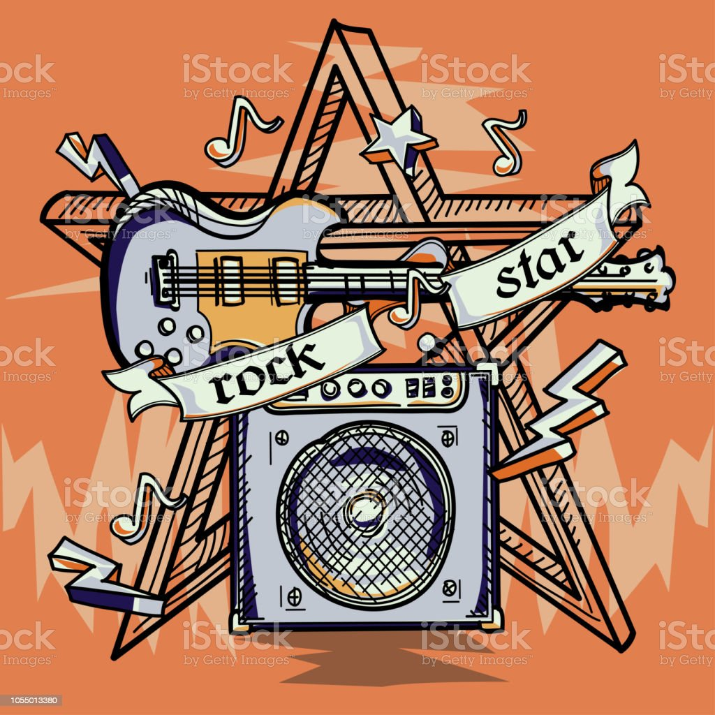 Rock star guitar drawn music design royalty free rock star guitar drawn music design