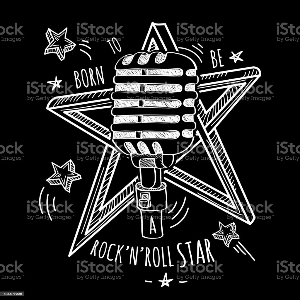 Rock star - hand-drawn black and white musical emblem vector art illustration