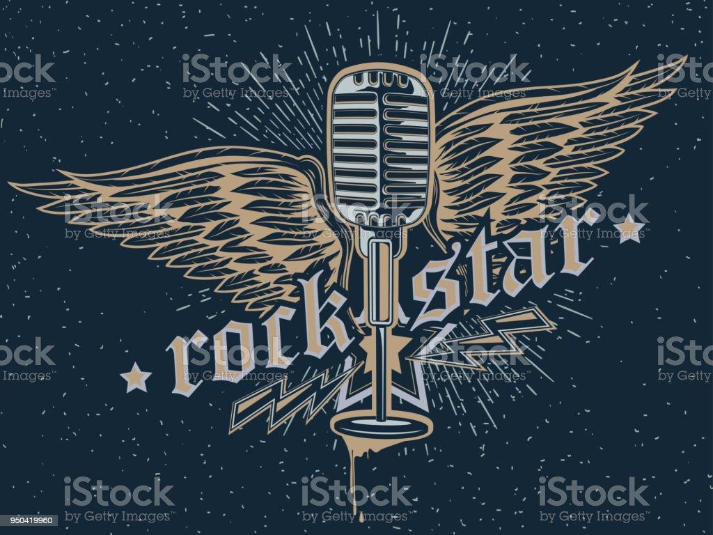 Rock star microphone emblem vector art illustration