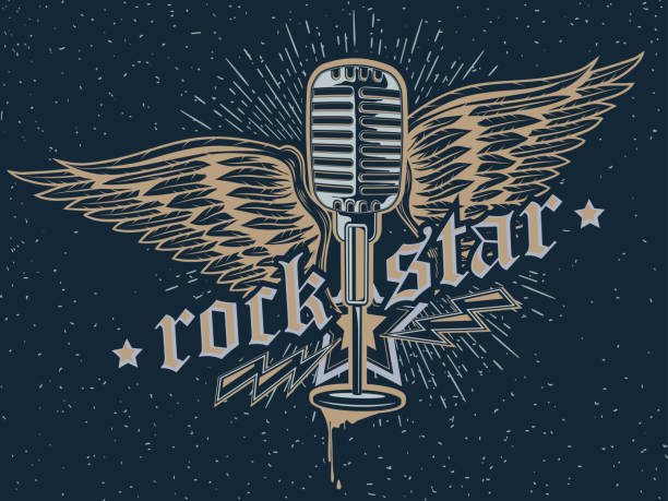 rock star mikrofon emblem - rocker stock-grafiken, -clipart, -cartoons und -symbole