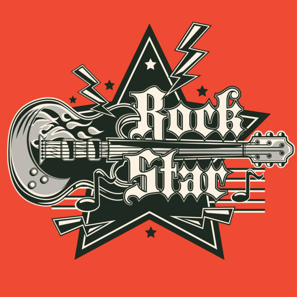 rock star musik emblem - rocker stock-grafiken, -clipart, -cartoons und -symbole