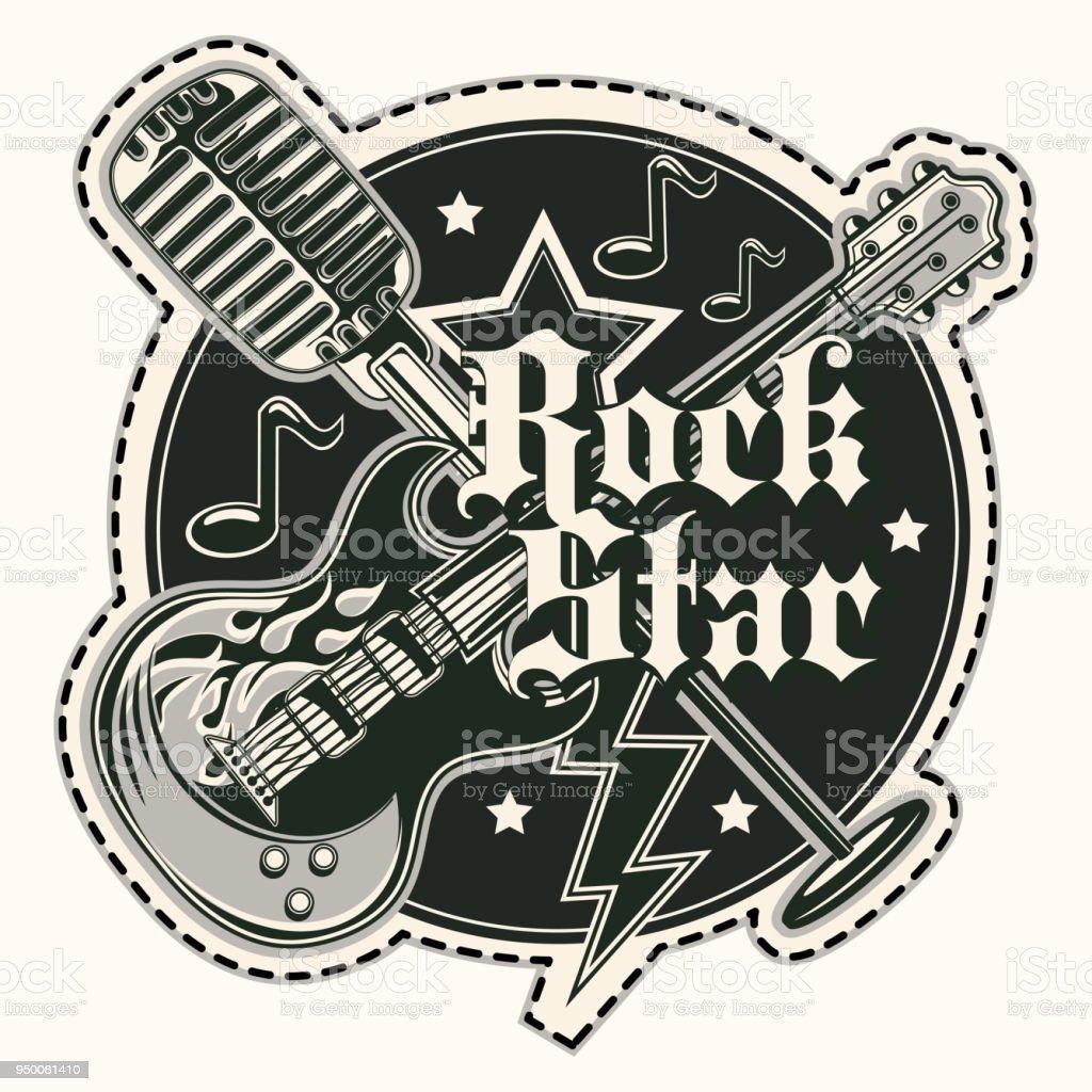 Rock star music emblem vector art illustration