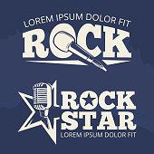 Rock star music labels on grunge backdrop. Retro emblem, vector illustration